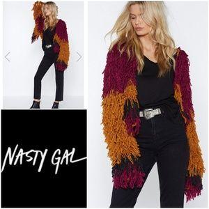 Nasty Gal Nomad 2 Tone Bad Romance Shaggy Cardigan